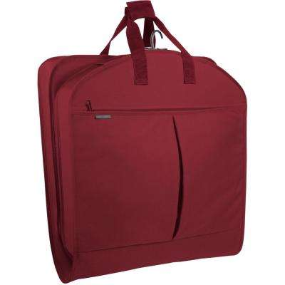 40 in. Red Suit Length Carry-On Garment Bag with 2-Pockets