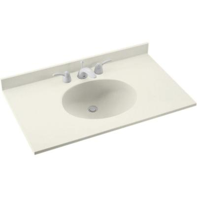 Ellipse 55 in. W x 22 in. D Solid Surface Vanity Top in in Bisque with Bisque Basin