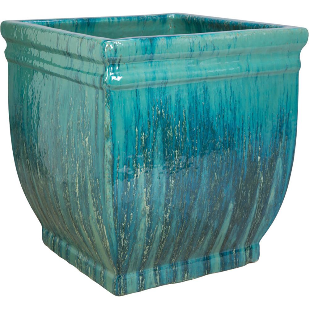 14 in. Caribbean Blue Ceramic Charleston Square