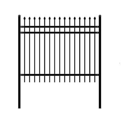 Rome Style 5 ft. x 6 ft. Black Steel Unassembled Fence Panel
