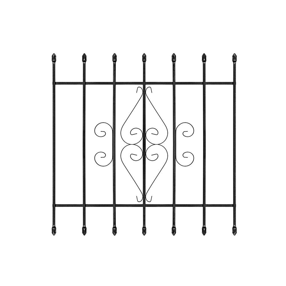 36 in. x 36 in. Su Casa Black 7-Bar Window Guard