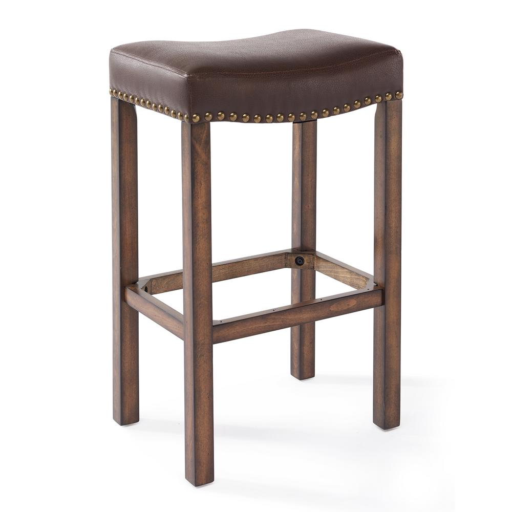 Armen Living Tudor 30 In. Kahlua Faux Leather And Chestnut Wood Finish  Backless Barstool