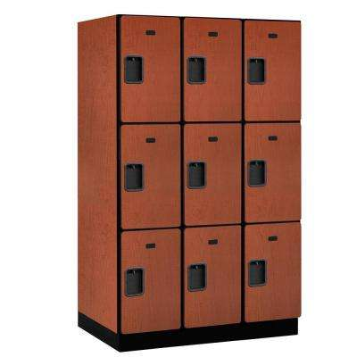 23000 Series Triple-Tier 24 in. D 9-Compartments Extra Wide Designer Particle Board Locker in Cherry