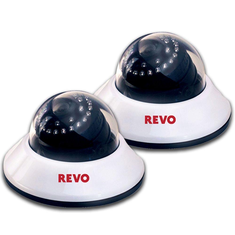 Revo 600 TVL Indoor Dome Surveillance Cameras with BNC Conversion Kits (2-Pack)