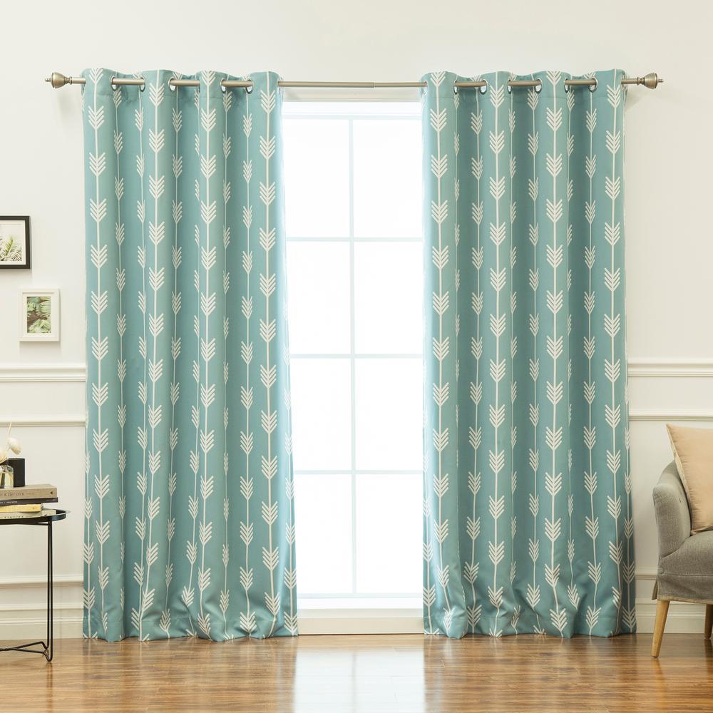 84 in. L Arrow Room Darkening Curtains in Ocean (2-Pack)