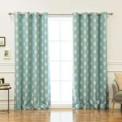 96 in. L Arrow Room Darkening Curtains in Ocean (2-Pack)