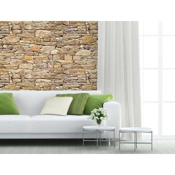 118 in. x 98 in. Stone Wall Mural