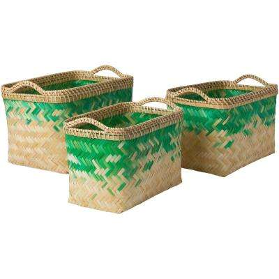 Ivoro Emerald Bamboo 12.2 in. x 9.8 in., 15 in. x 10.6 in., 17.7 in. x 11.8 in. 3-Piece Basket Set