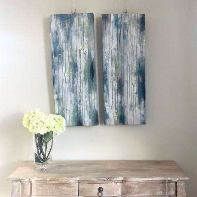 "36 in. x 14 in. x 2 in. ""Coastal Rain"" by Unnamed Artist Hand Painted Canvas Wall Art Set of 2"