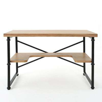Gaspard Industrial Natural Brown Wood and Metal Desk