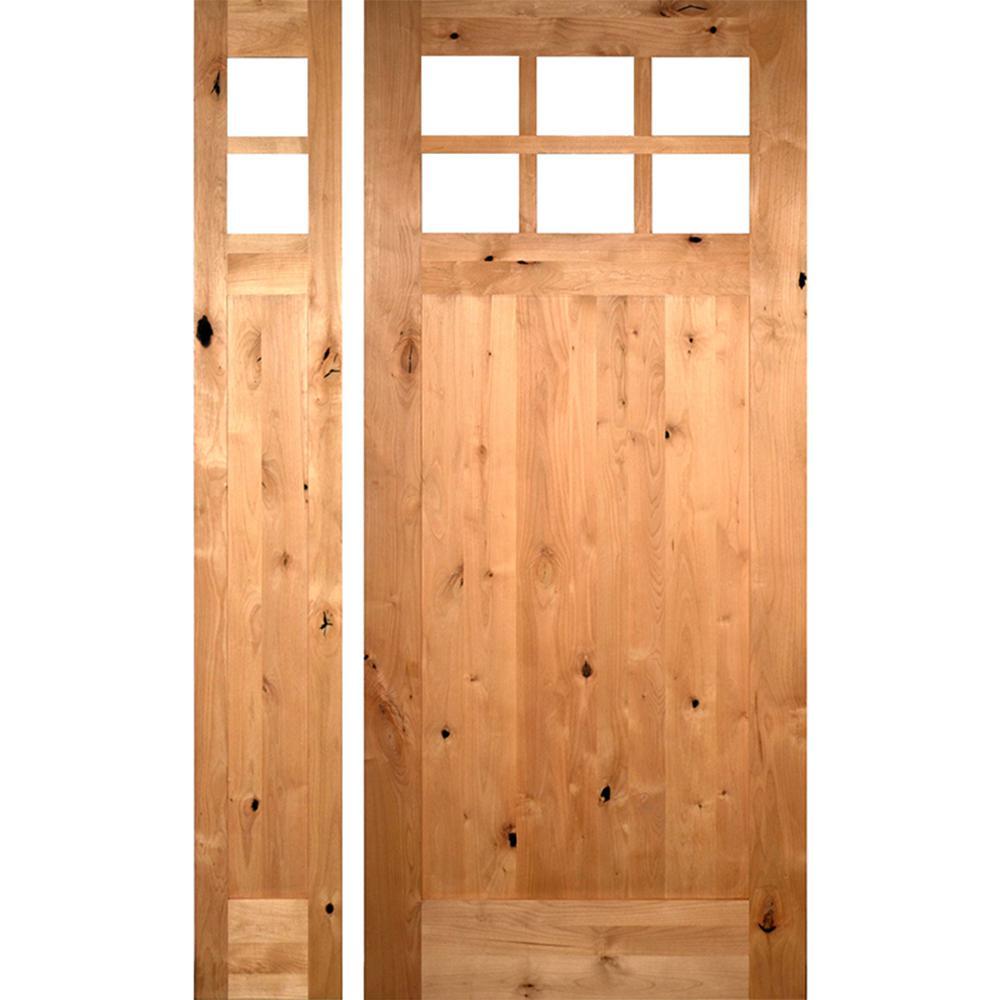 53 in. x 97.625 in. Craftsman 1 Panel 6Lite Knotty Alder Unfinished Left-Hand Inswing Prehung Front Door w/Left Sidelite