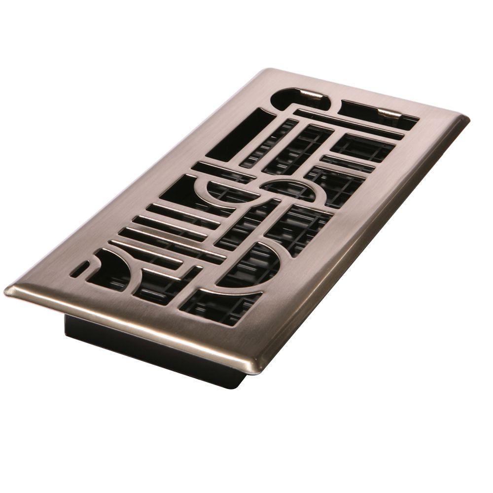 4 in. x 14 in. Art Deco Floor Register in Brushed Nickel