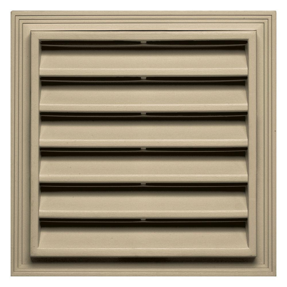 12 in. x 12 in. Square Gable Vent in Light Almond