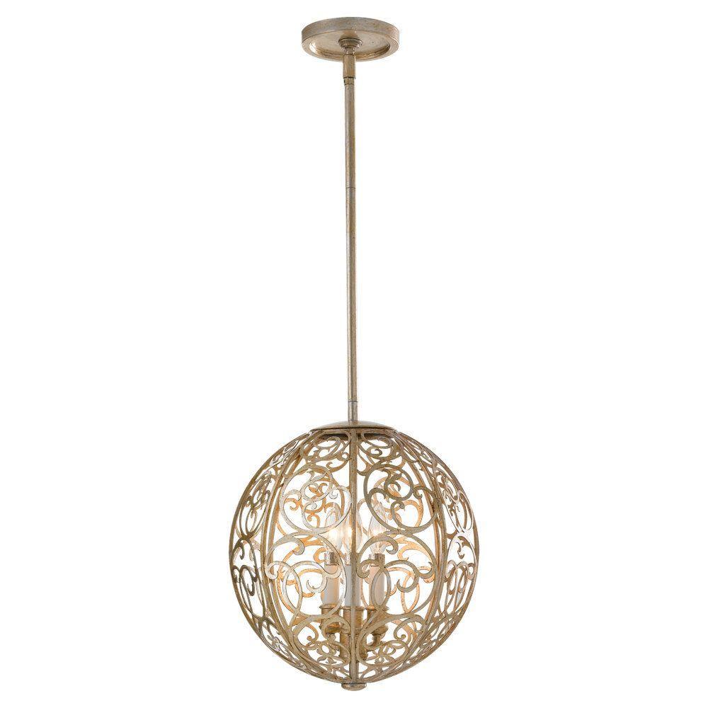 Arabesque 3-Light Silver Leaf Patina Indoor Chandelier