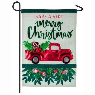 18 in. x 12.5 in. Holiday Red Truck Garden Linen Flag