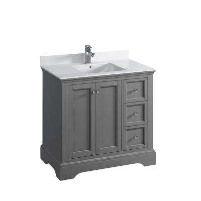 Windsor 36 in. W Traditional Bathroom Vanity in Gray Textured, Quartz Stone Vanity Top in White with White Basin