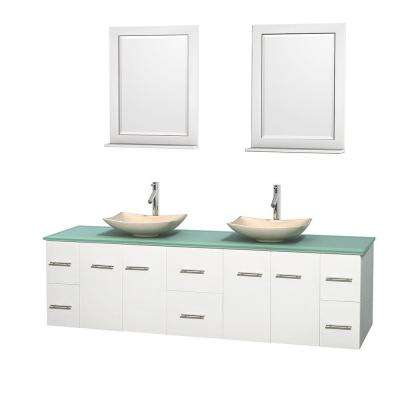 Centra 80 in. Double Vanity in White with Glass Vanity Top in Green, Ivory Marble Sinks and 24 in. Mirrors