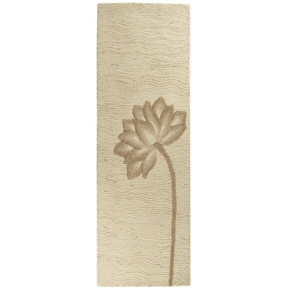 Home Decorators Collection Blooms White/Beige 2 ft. 6 in. x 10 ft. Rug Runner