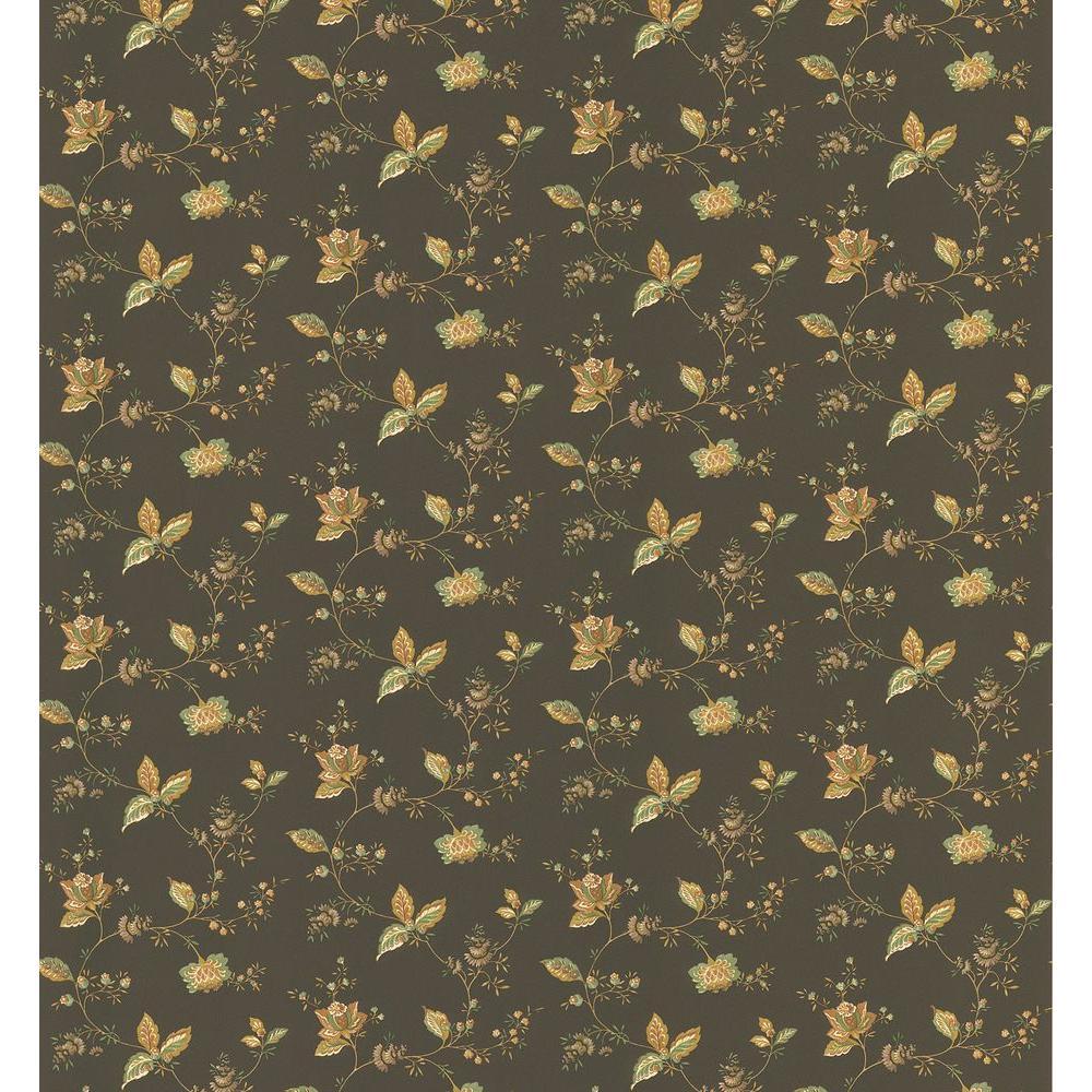 Cottage Living Brown Jacobean Wallpaper Sample