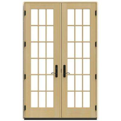 60 in. x 96 in. W-4500 Brown Clad Wood Right-Hand 18 Lite French Patio Door w/Unfinished Interior