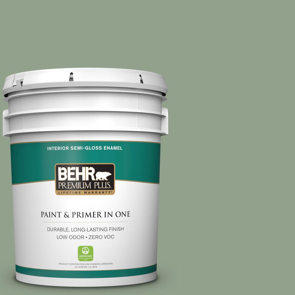 5-gal. #440F-4 Athenian Green Zero VOC Semi-Gloss Enamel Interior Paint