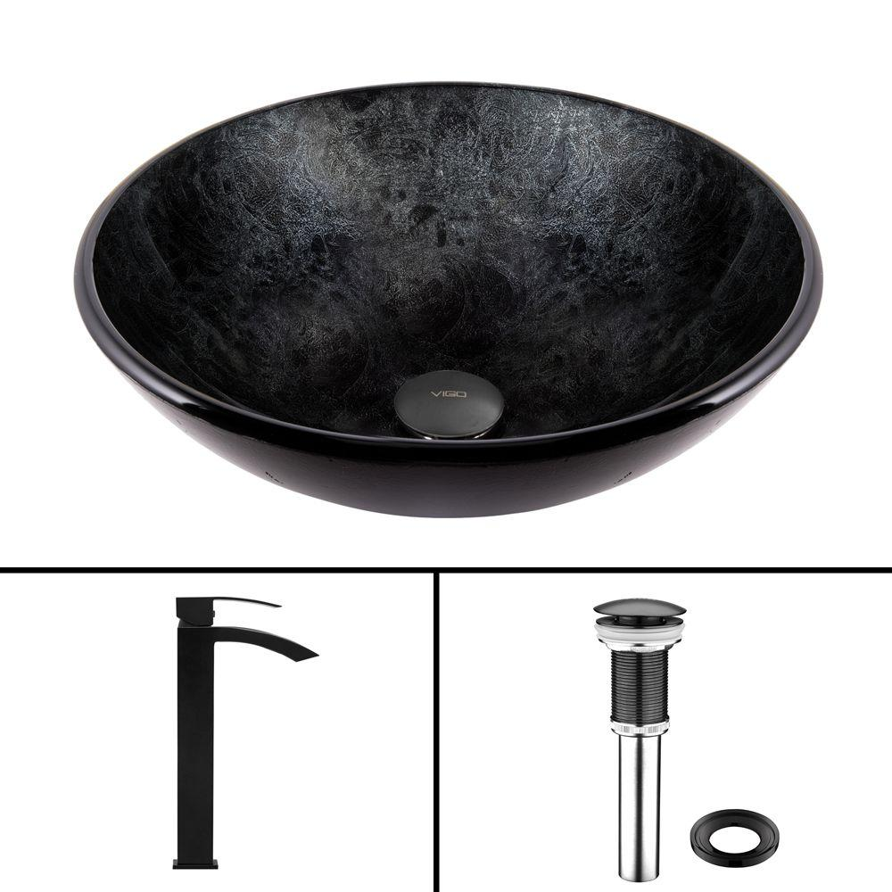 VIGO Glass Vessel Sink in Gray Onyx and Duris Faucet Set in Matte ...