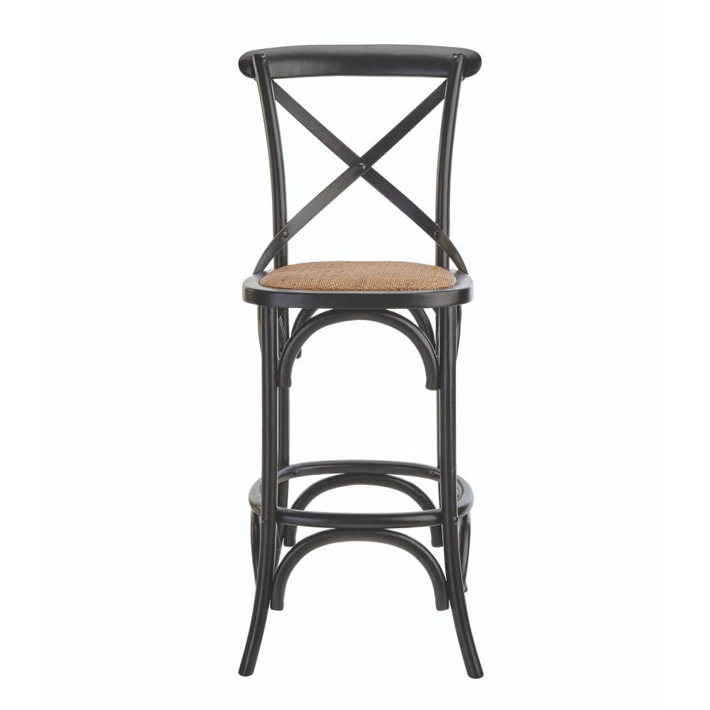 Linon Home Decor Hyde Cafe 30 In Black Bar Stool With Cane Seat