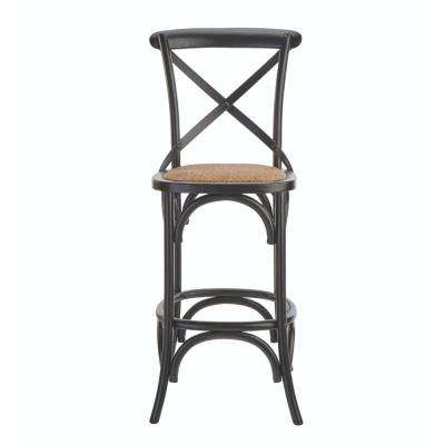 Hyde Cafe 30 in. Black Bar Stool with Cane Seat