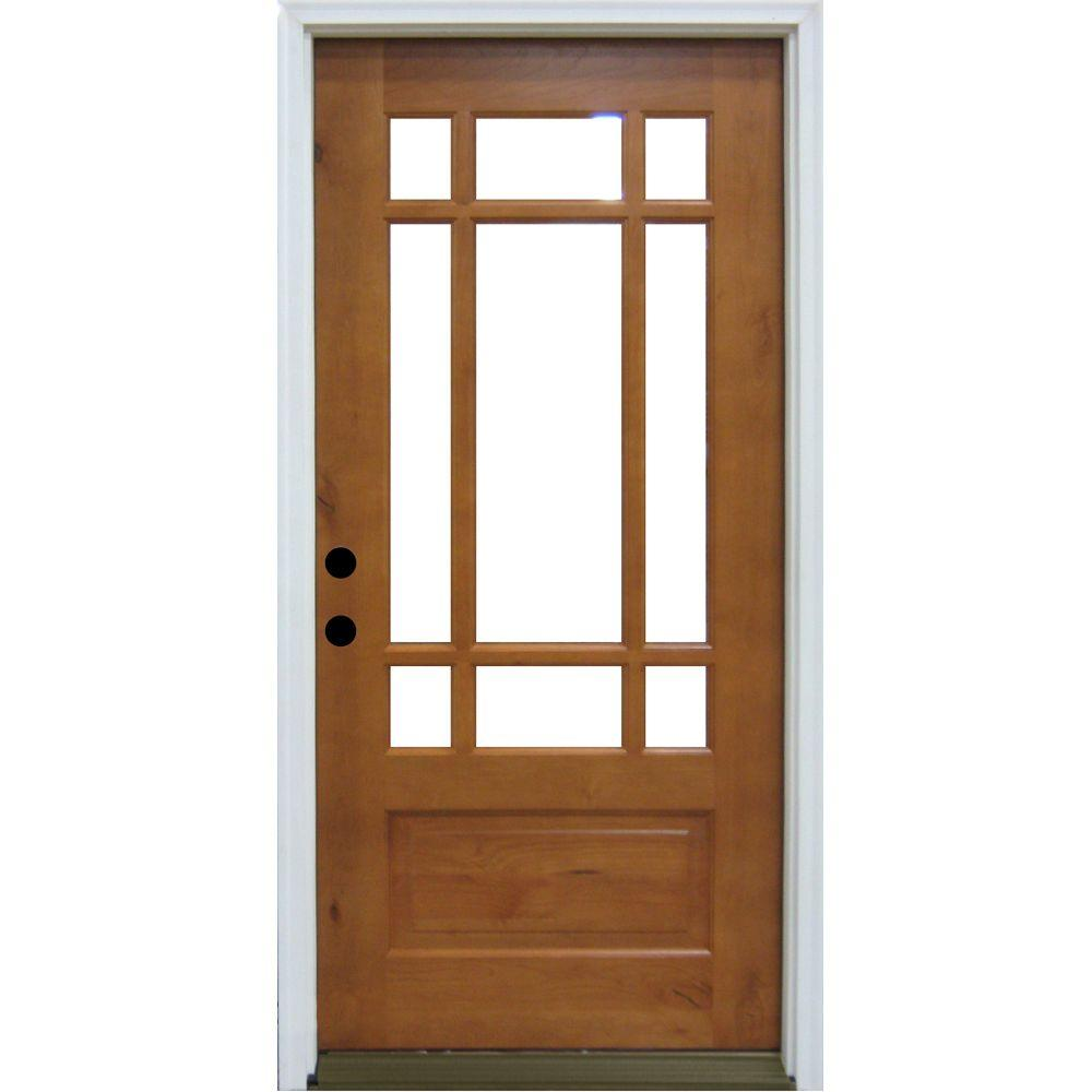 Steves & Sons Craftsman 9 Lite Prefinished Knotty Alder Wood Prehung Front Door-DISCONTINUED