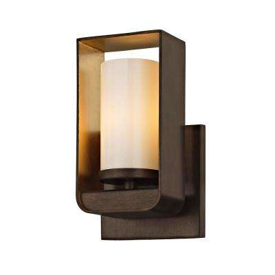 Escape 1-Light Bronze 4.5 in. W LED Bath Light with Gold Leaf Accents and Gloss Opal Glass Shade