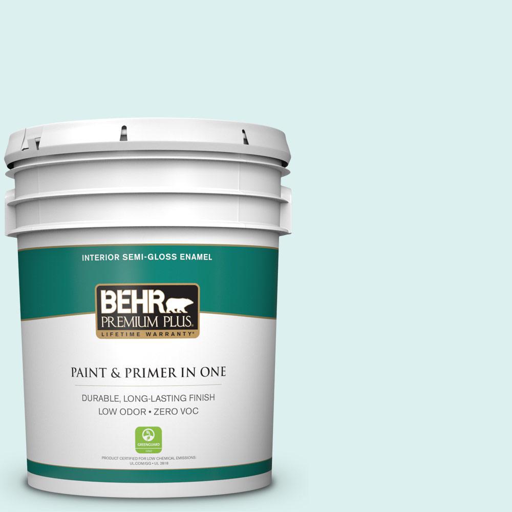 BEHR Premium Plus 5-gal. #500C-2 Aqua Pura Zero VOC Semi-Gloss Enamel Interior Paint