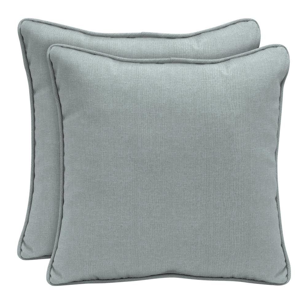 Home Decorators Collection Sunbrella Cast Mist Square Outdoor Throw Pillow (2-Pack)