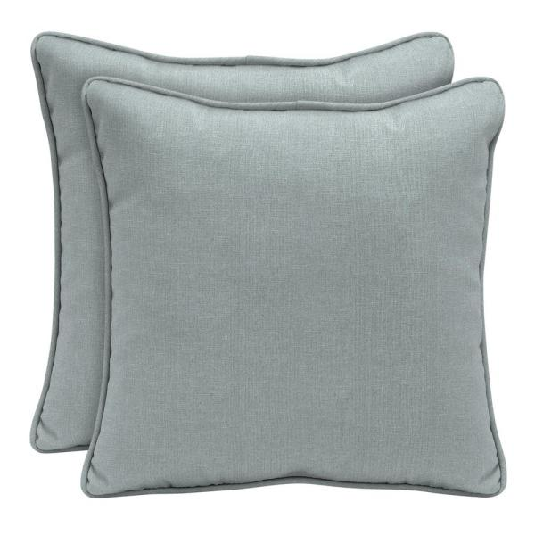 Home Decorators Collection Sunbrella Cast Mist Square Outdoor Throw Pillow 2 Pack Ah1w545b D9d2 The Home Depot
