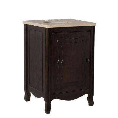 Moraga 24 in. W x 22 in. D x 36 in. H Single Vanity in Sable Walnut with Marble Vanity Top in Cream with White Basin