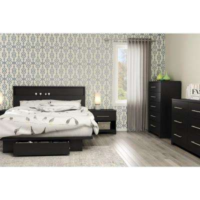 Primo Pure Black Queen Storage Bed