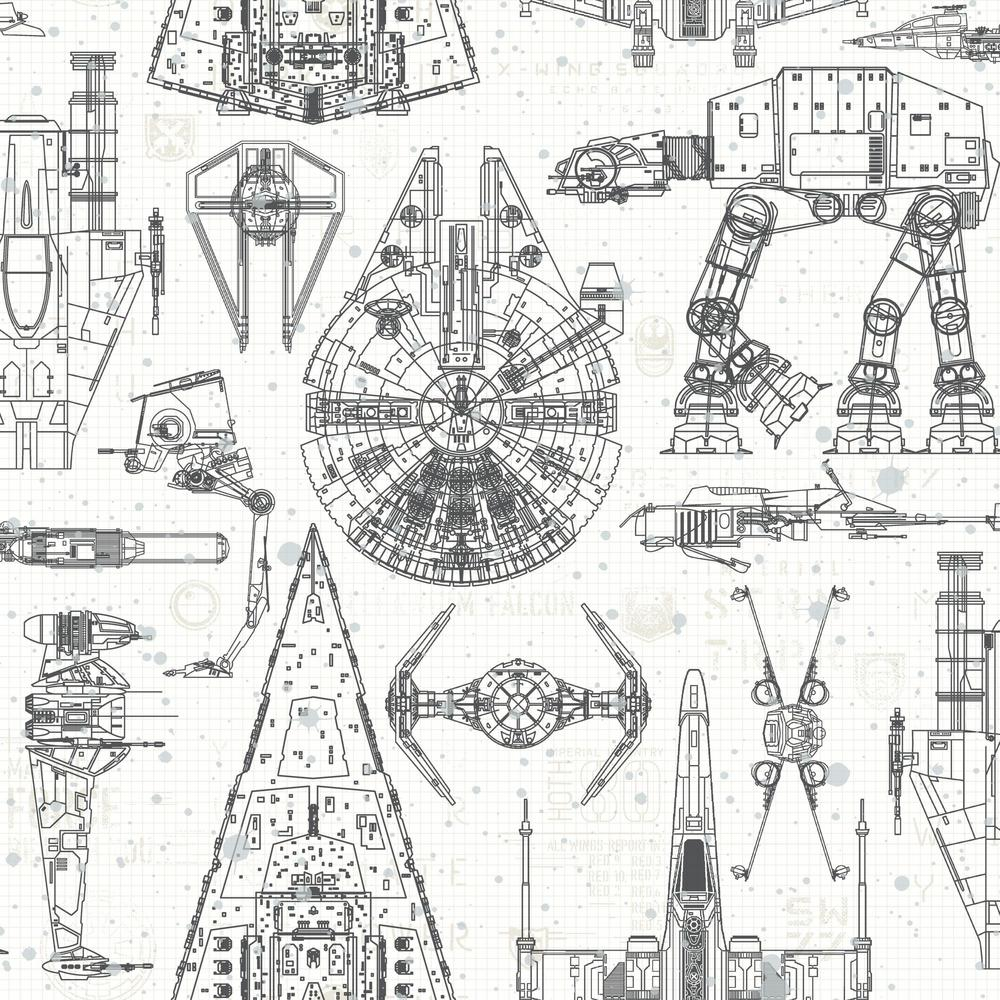 RoomMates RoomMates 28.18 sq. ft. Star Wars Blueprint Peel and Stick Wallpaper
