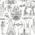 Star Wars Blueprint Vinyl Peelable Wallpaper (Covers 28.18 sq. ft.)