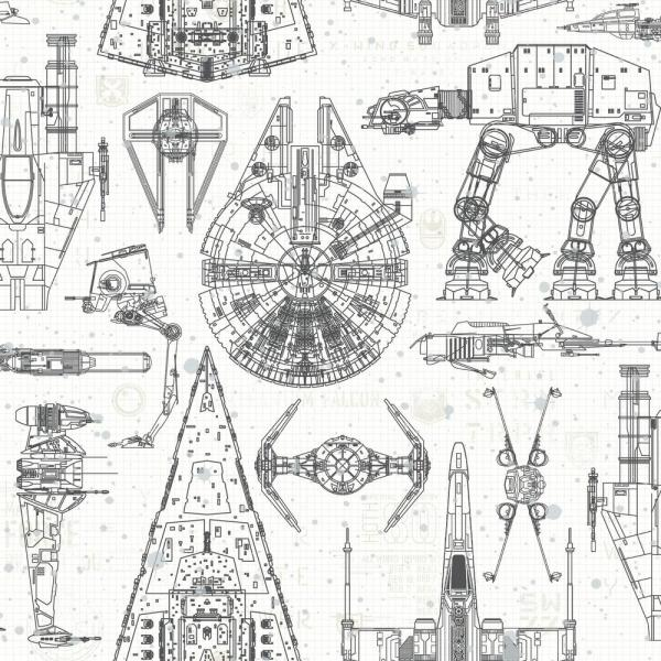 Roommates Star Wars Blueprint Vinyl Peelable Wallpaper Covers 28 18 Sq Ft Rmk11036wp The Home Depot