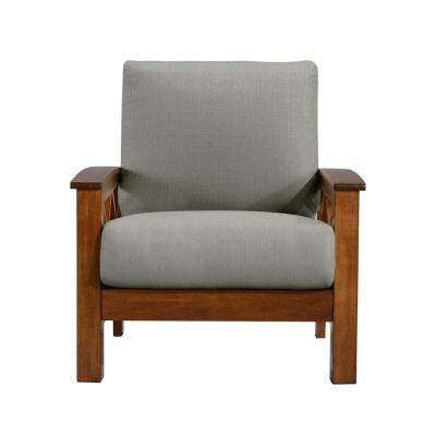 Virginia X-Design Arm Chair with Exposed Cherry Wood Frame in Dove Gray Linen