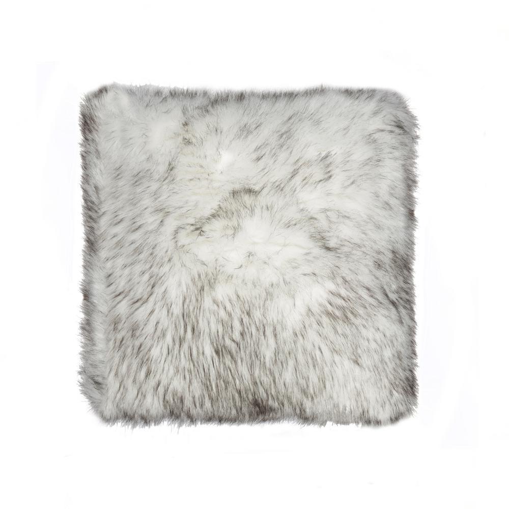 Belton Gradient Gray 18 inch x 18 inch Faux Sheepskin Decorative Pillow by