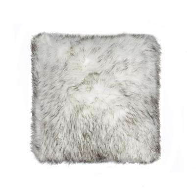 Belton Gradient Gray 18 in. x 18 in. Faux Sheepskin Decorative Pillow