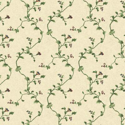 The Wallpaper Company 56 sq.ft. Purple And Green Floral Document Trail Wallpaper-DISCONTINUED