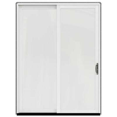 72 in. x 96 in. W-2500 Contemporary Silver Clad Wood Right-Hand Full Lite Sliding Patio Door w/White Paint Interior