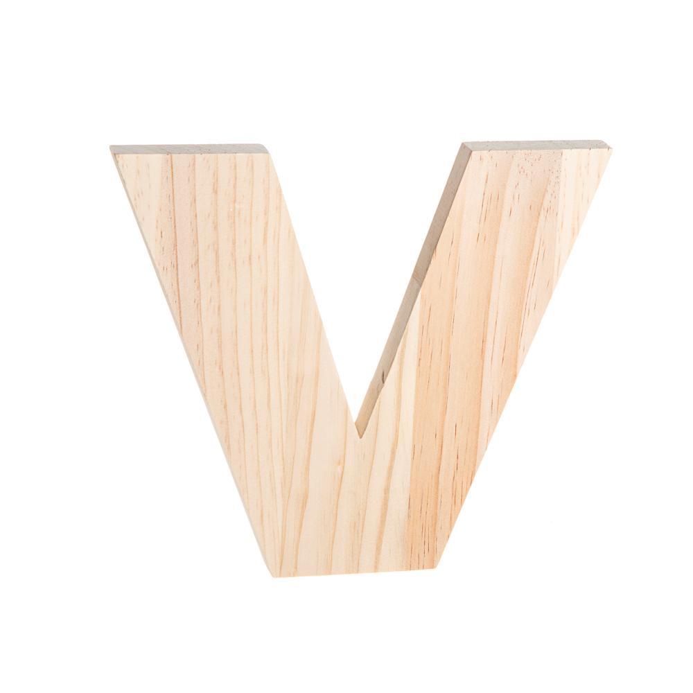 alpha 8 in. Letter V in Unfinished Wood