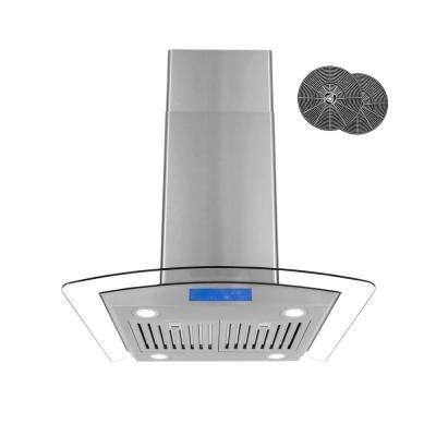 30 in. Ductless Island Range Hood in Stainless Steel with LED Lighting and Carbon Filter Kit for Recirculating