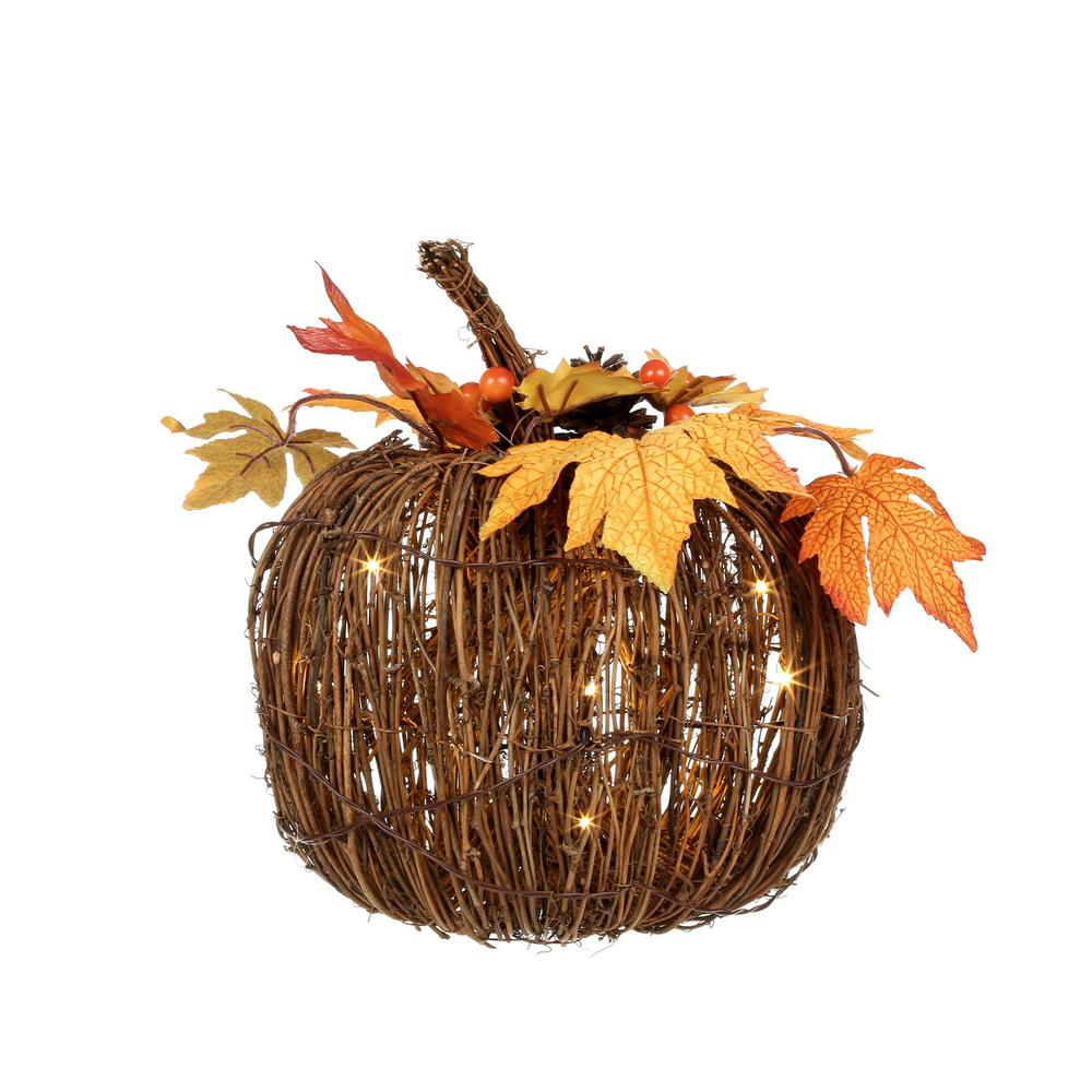 Home Accents Holiday 11 in. Harvest Twig Pumpkin with 15 LED Lights
