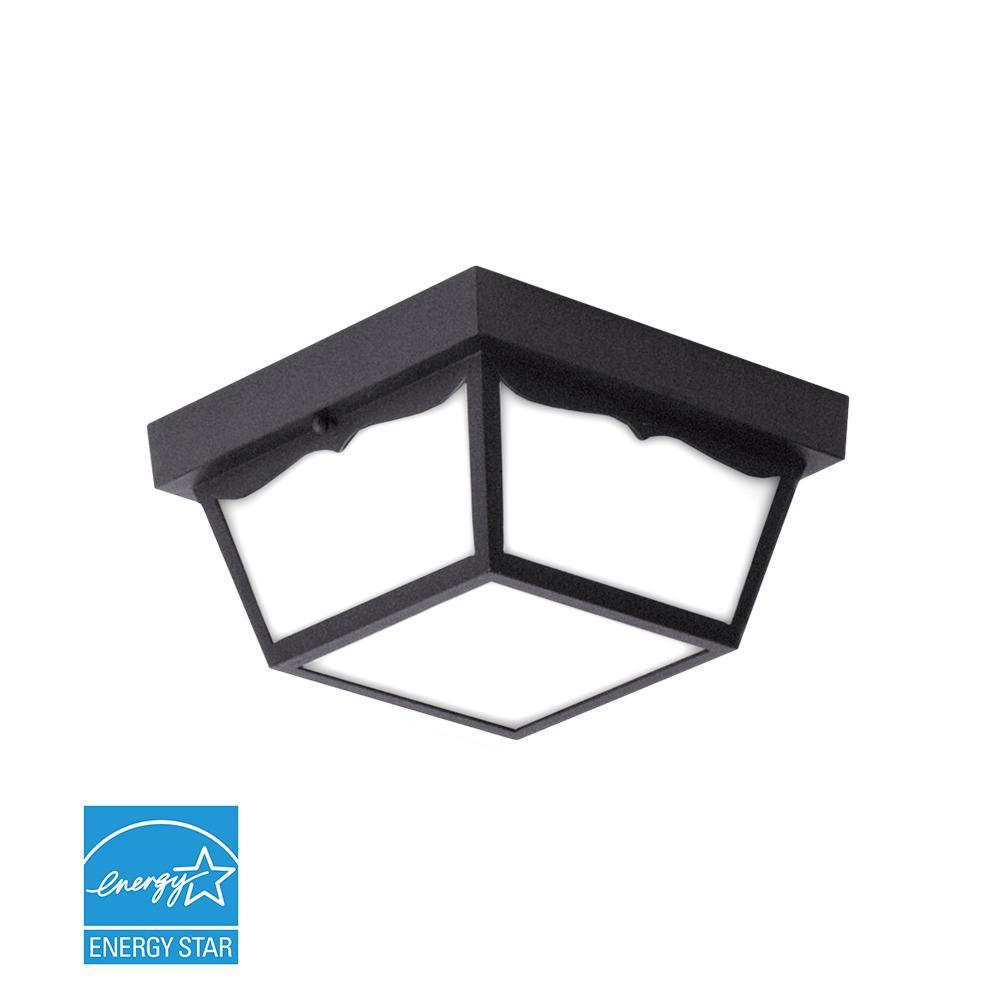Matte Black Integrated LED Outdoor Flush Mount
