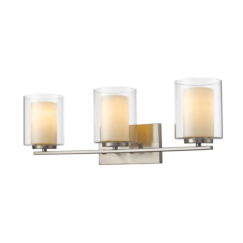 Sea Gull Lighting 44237 962 3 Light Brushed Nickel Bathroom Vanity Wall Fixture: Sea Gull Lighting Academy 3-Light Brushed Nickel Vanity Light-44438EN-962