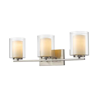 Wesson 3-Light Brushed Nickel Steel Contemporary Bath Light with Clear Outside, Matte Opal Inside Glass Shades