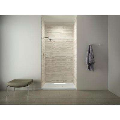 Choreograph 48in. X 36 in. x 96 in. 5-Piece Shower Wall Surround in VeinCut Biscuit for 96 in. Showers